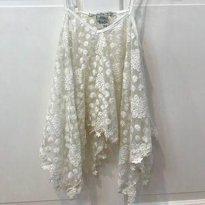 Flowy draped white lace floral tank top